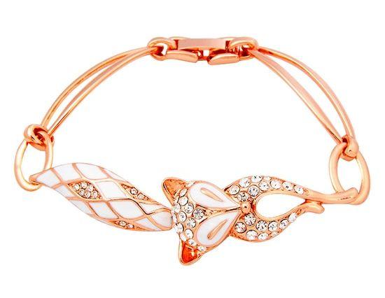 Rose gold fox bracelet. Need this.