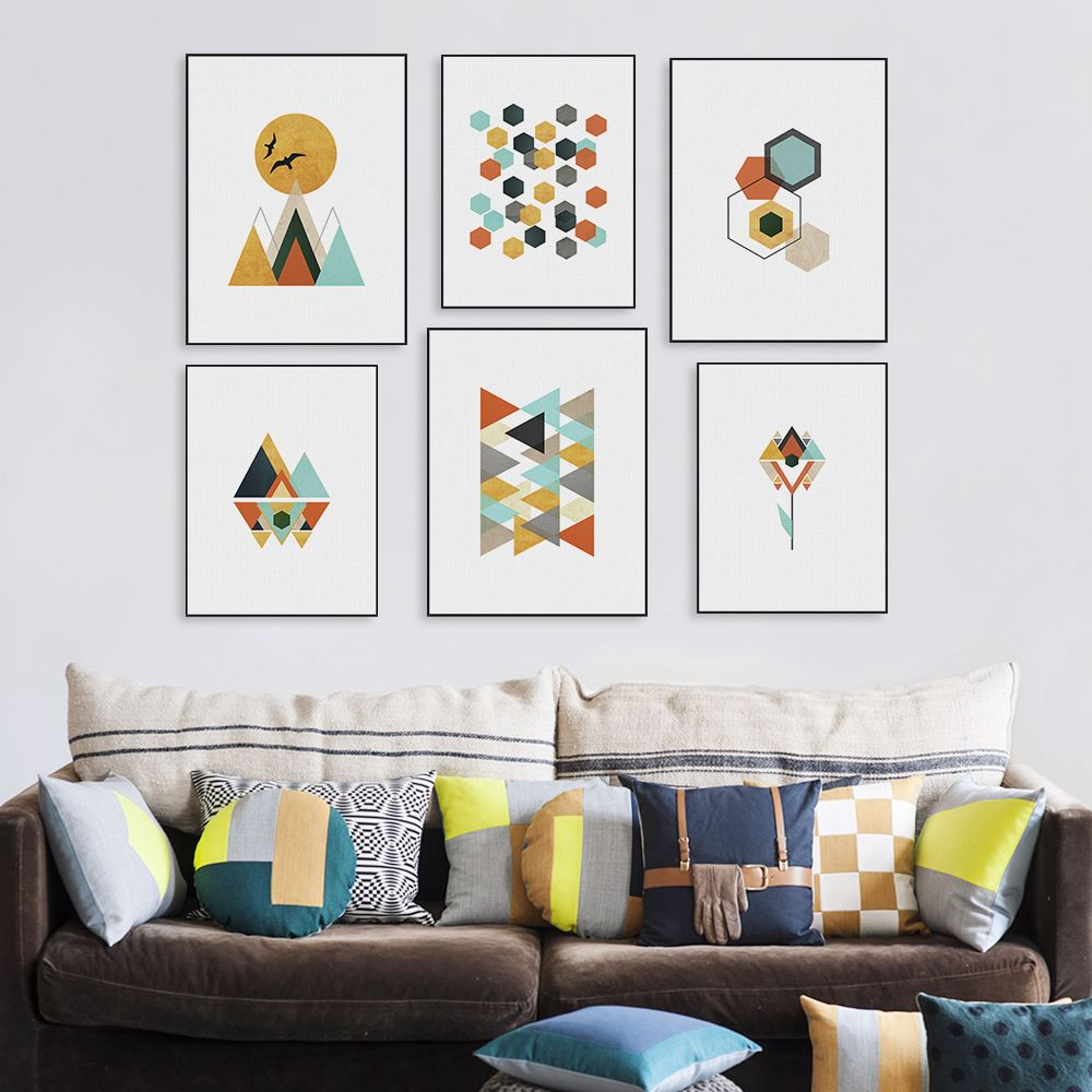 Modern Geometric Abstract Shape Mountain Sun Canvas A4 Big Print ...