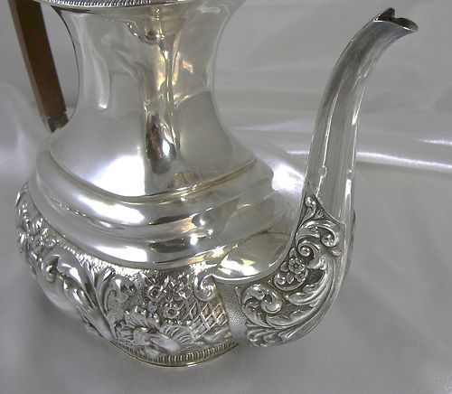 DETAIL: Exceptionally Heavy English 5 Piece Repousse Sterling Silver Tea Coffee Service | eBay