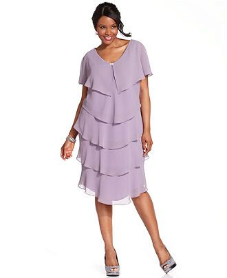 Patra Plus Size Dress, Short Sleeve Beaded Tiered Web ID ...