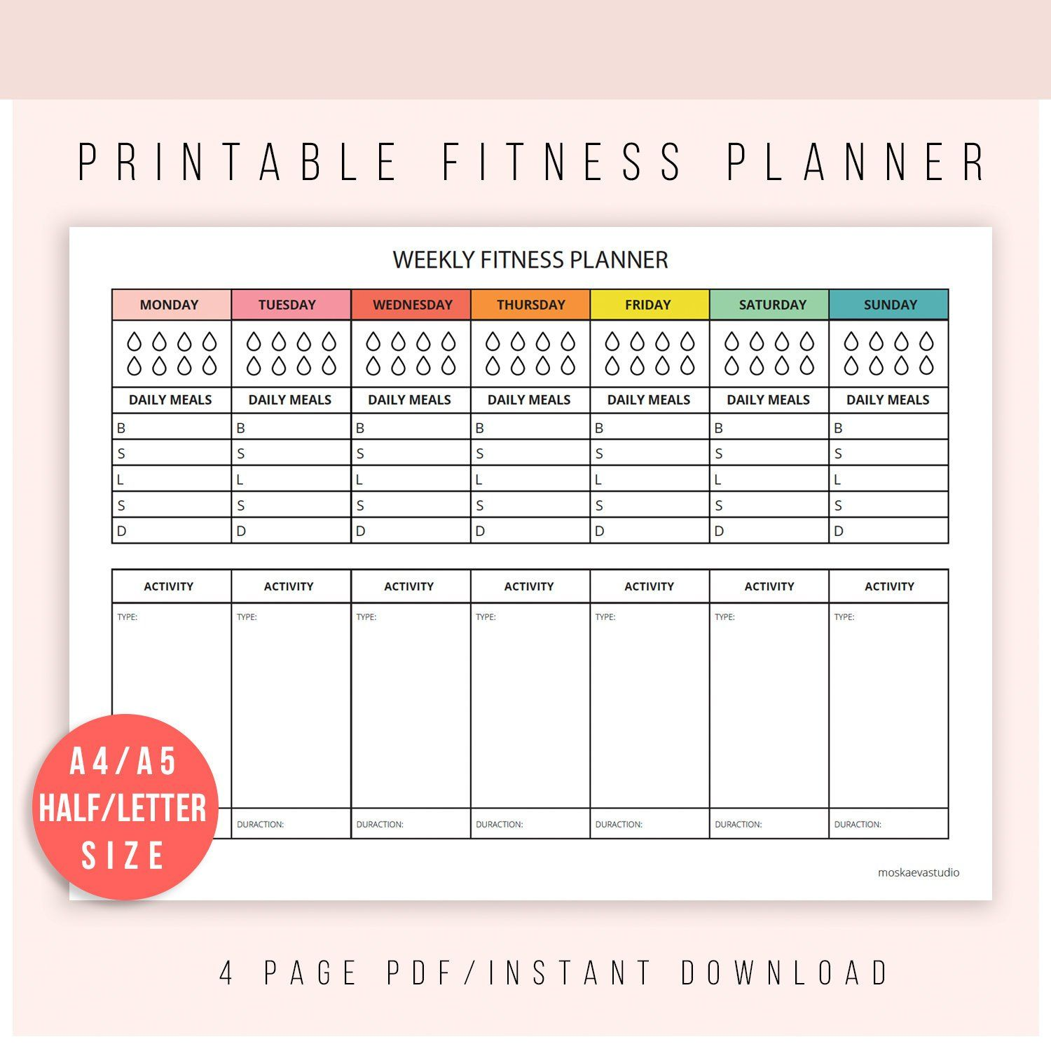 Fitness Planner Self Care Planner Wellbeing Planner
