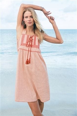 9d9323cad2 Buy Pink Embroidered Linen Blend Dress from the Next UK online shop ...