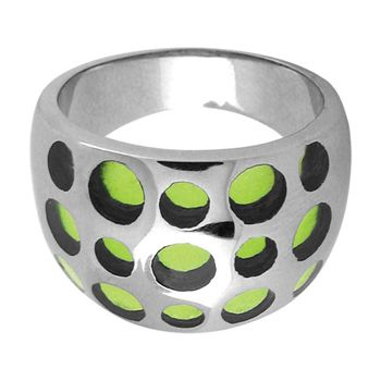 Click Image Above To Buy: Size 7 - Inox Jewelry Green Resin 316l Stainless Steel Ring