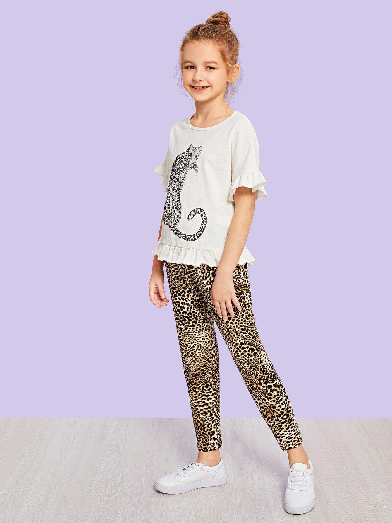 566e7d1d43b4 Girls Ruffle Animal Print Tee & Leopard Print Pants Set #clothes #girls # fashion #trend #moda #women #dress