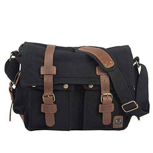 Muchuan Mens Canvas Messenger Bag Laptop Bag,Black Top canvas ...