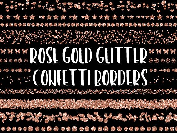 e18426812c6d Rose Gold Glitter Confetti Borders - Glitter Confetti Clipart - 35 Rose Gold  Confetti Overlays - Gli