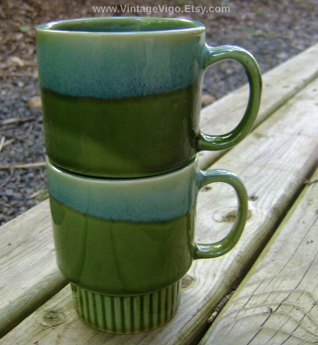 Vintage Retro Stacking Mugs Festival Stoneware Drip Glaze Cups Kitchen Ware Avocado Green Blue Embossed Art Deco Free Shipping Sale