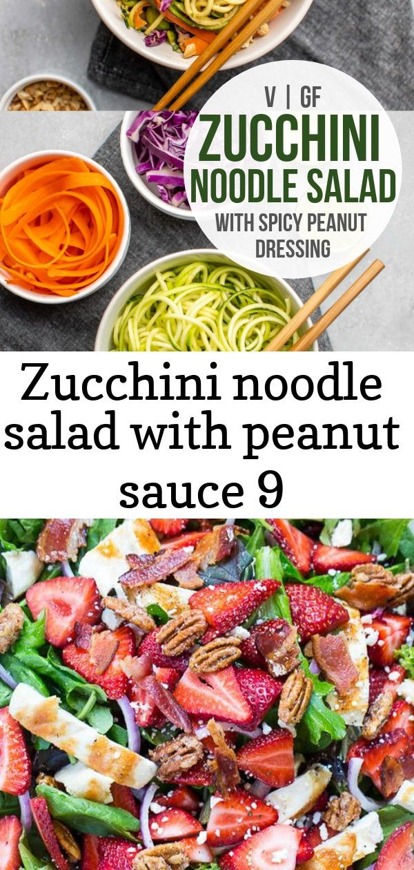 Zucchini noodle salad with peanut sauce 9 Zucchini noodles combine with edamame crunchy veggies and a spicy peanut sauce to make this fresh filling and proteinpacked sala...
