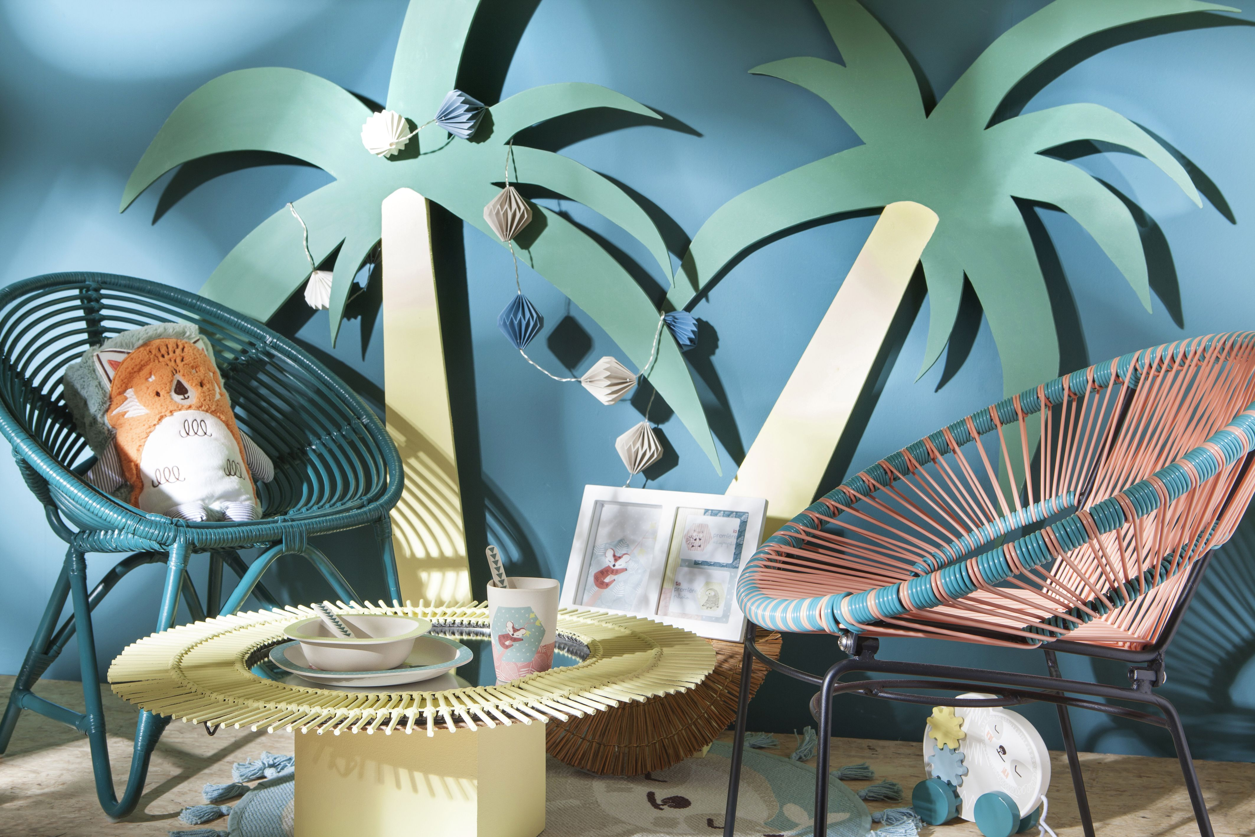 Décoration enfants bleu palmier chambre ambiance Fauteuils