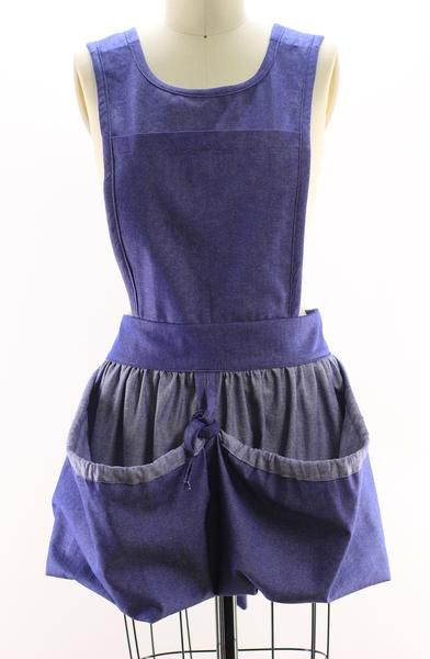 Gathering Apron with Bib Top in Denim