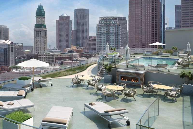 The Rooftop Pool And Social Deck Is A Perfect Place To Relax While Taking In The Views Of Downtown Boston Rooftop Pool Swimming Pools Apartment
