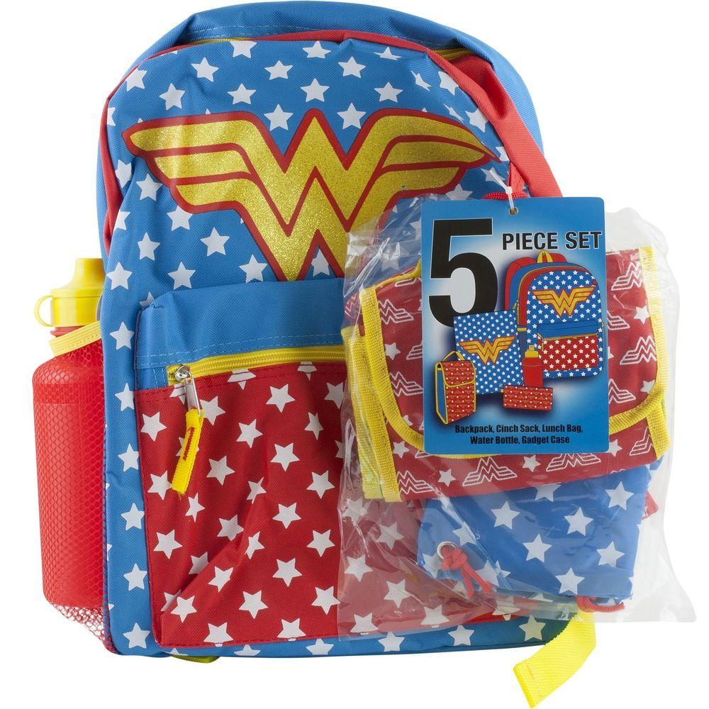 Wonder Woman School Backpack Book Bag Lunch Tote Pencil Case Water Bottle Sack Wonderwoman