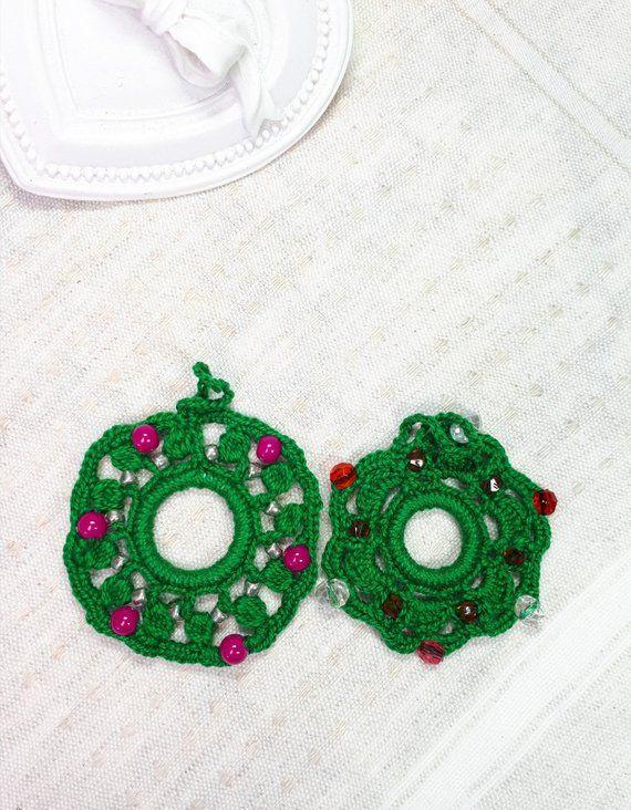 Photo of 2 Christmas Hanging Decorations, Crochet Wreaths, Christmas Tree Decor, Christmas Ornaments