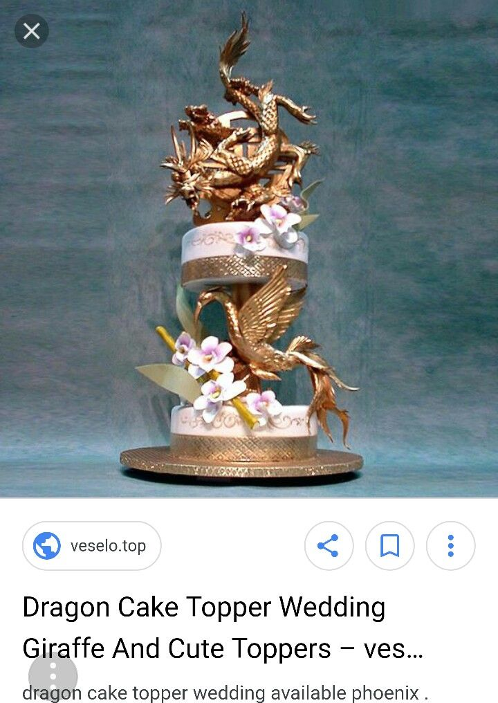 Dragon phoenix cake topper with images wedding cake