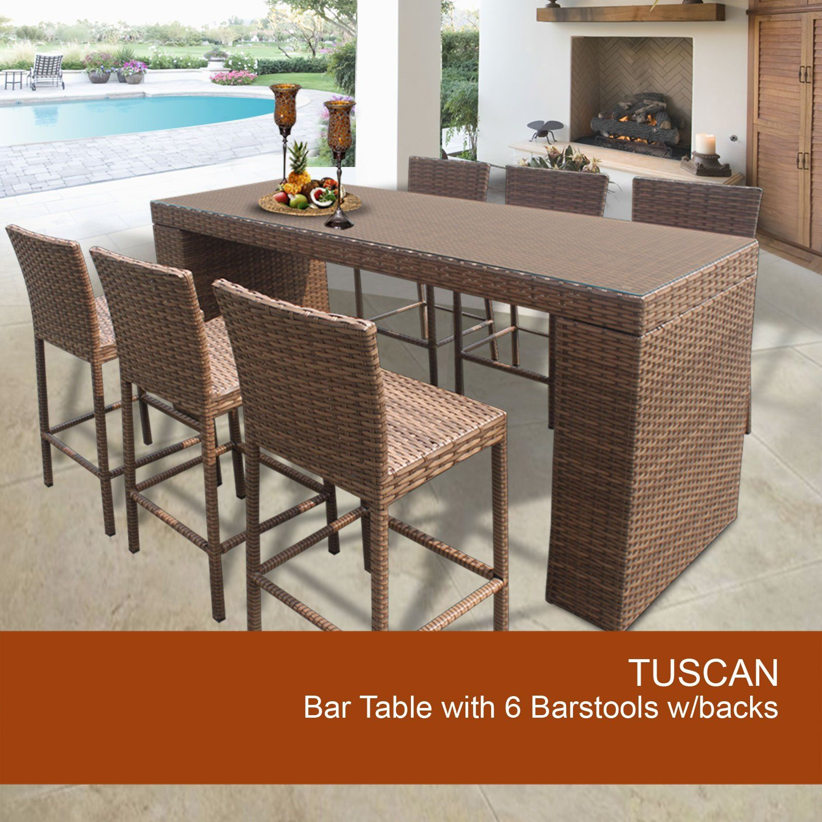 Tuscan Bar Table Set With Barstools 7 Piece Outdoor Wicker Patio