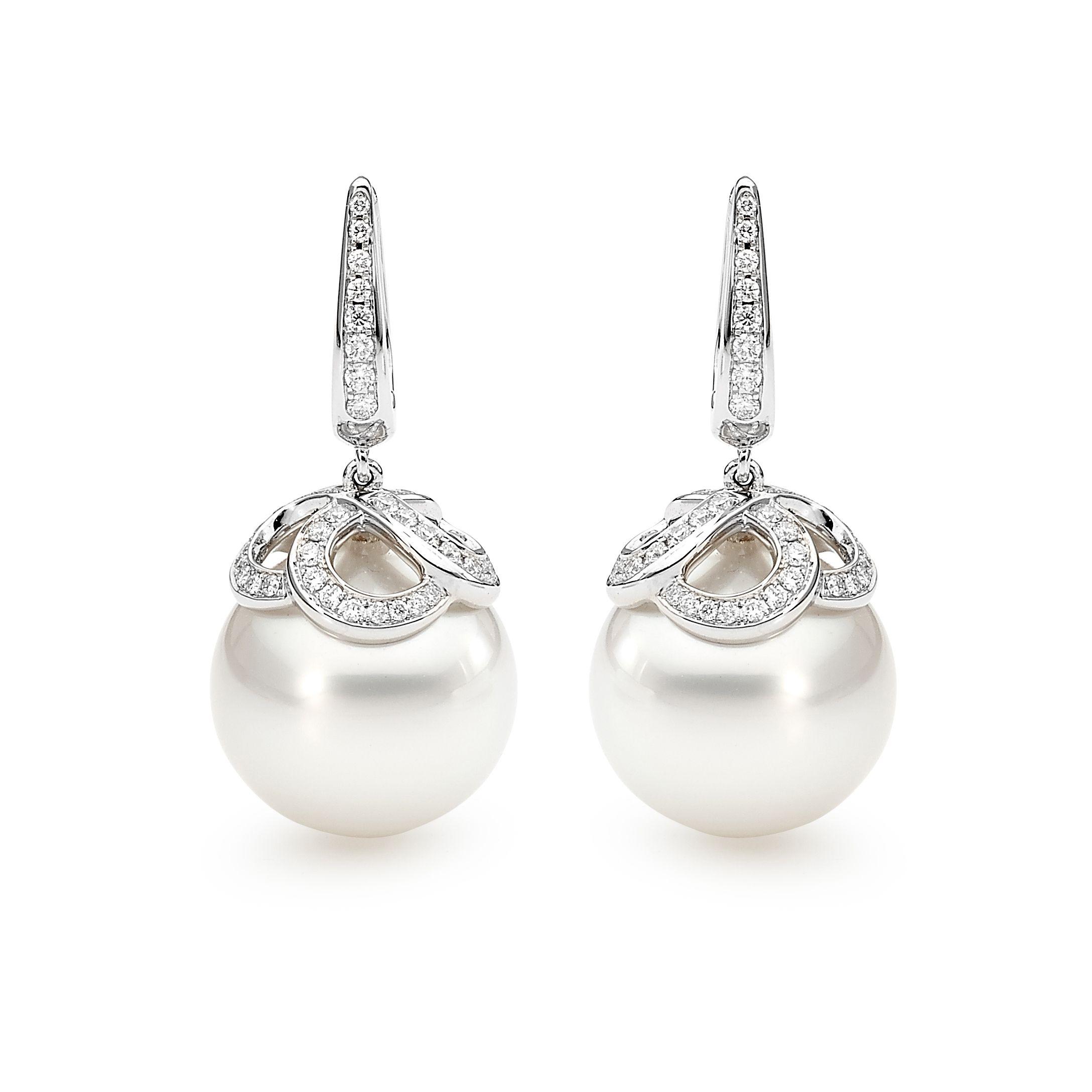 South Sea Pearl And Diamond European Hook Earrings Diamonds Diamondsinternational Diamondjewellery Southsea Pearls
