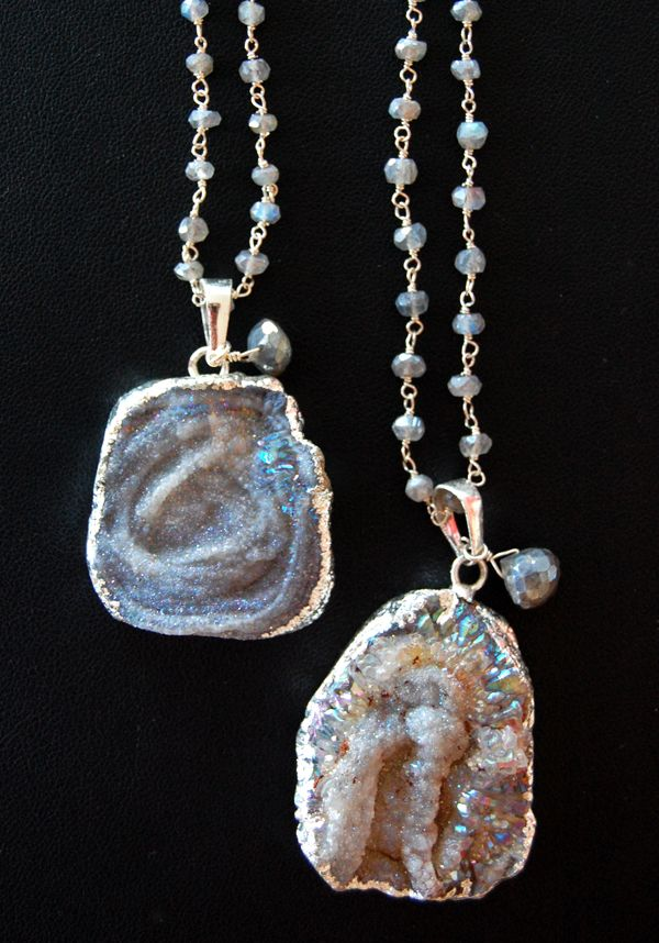 Druzy Quarts necklaces from Cimber at Lotus Boutique