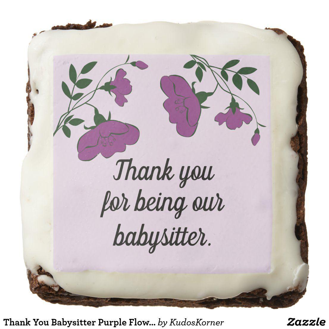 Thank You Babysitter Purple Flowers Appreciation Brownie