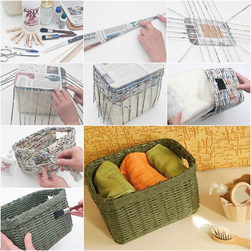 DIY How to Weave a Storage Basket from Old Newspaper ...