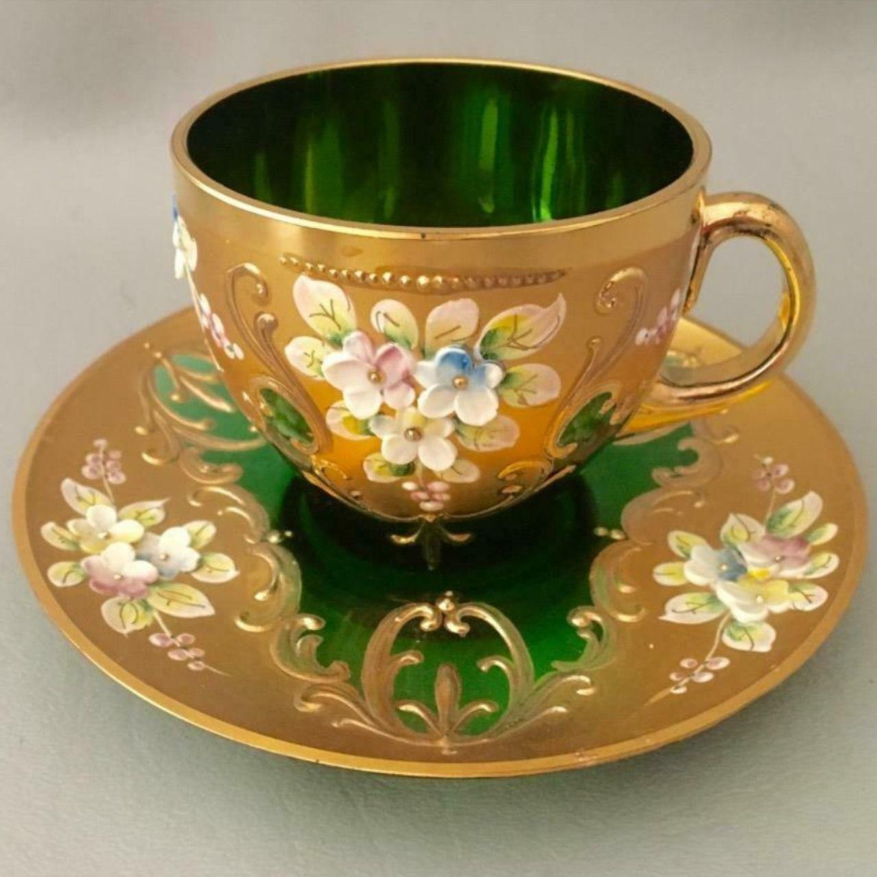 VTG CZECH BOHEMIAN GOLD GILT FLOWER GREEN GLASS TEA COFFEE