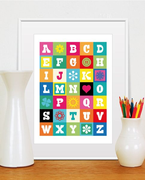 ABC,+Poster+mit+Alphabet,+Kinderzimmer,+Größe+A3+von+Tom's