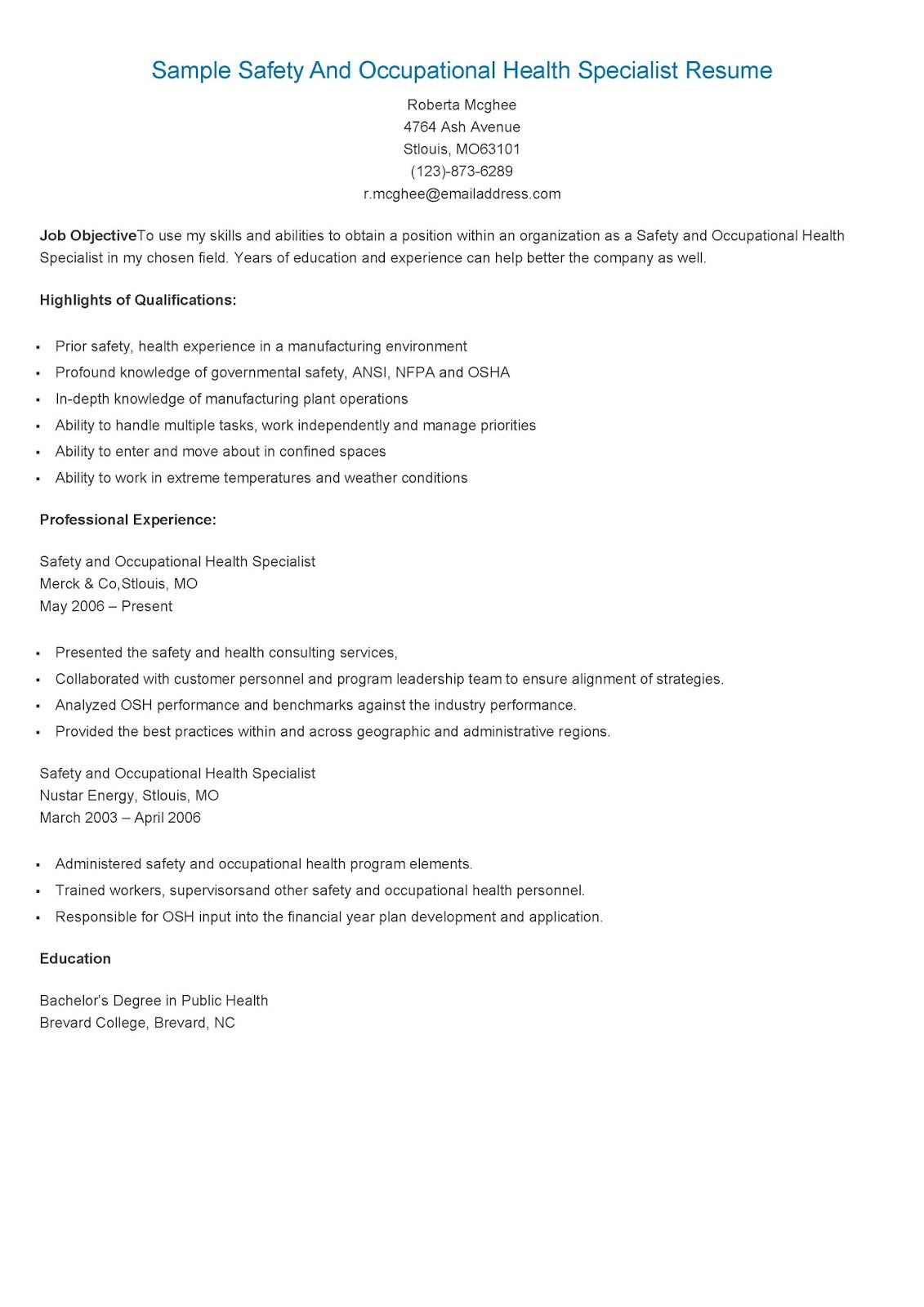 Sample Safety And Occupational Health Specialist Resume Resume Sample Resume Resume Objective Examples