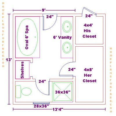 9x13 master bath floor plan with his and her closet layout for Master closet and bathroom layouts