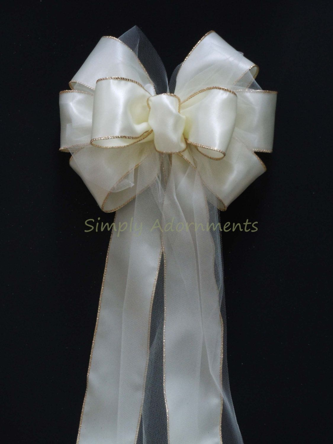 10 Ivory Satin Tulle Wedding Pew Bows Church Aisles decorations ...