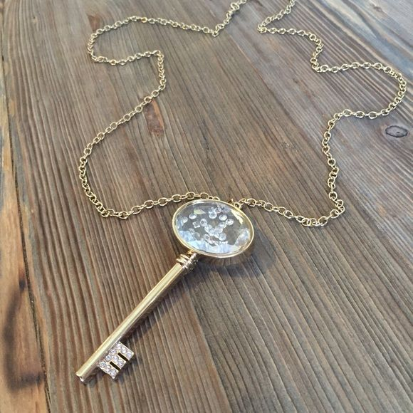 Big Key long statement necklace 4 coats 18K Gold. Handmade in Guadalajara MX. Swarovski crystals and DIAMONICE Jewelry Necklaces