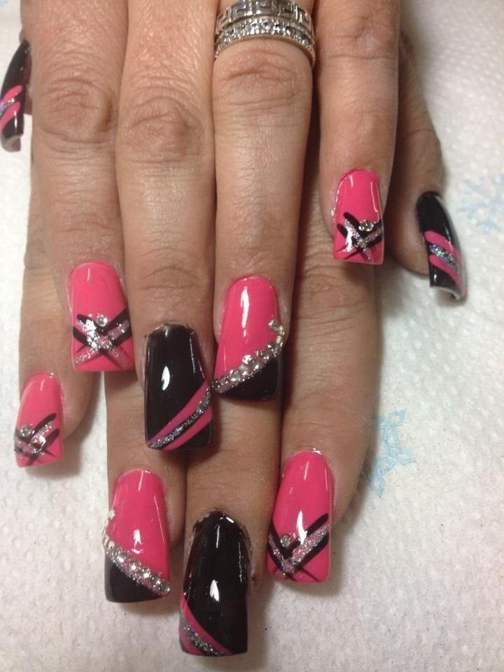 Image result for PINK, BLACK, SILVER, AND JEWEL NAIL DESIGN | nail ...