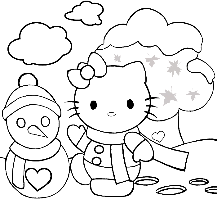 Hello Kitty And Snowman Coloring Pages