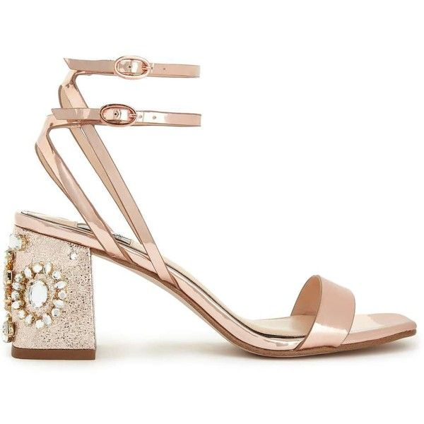 Bridal Shoes Selfridges: Miss Selfridge CHARM Rose Gold Sandals (395 SAR) Liked On