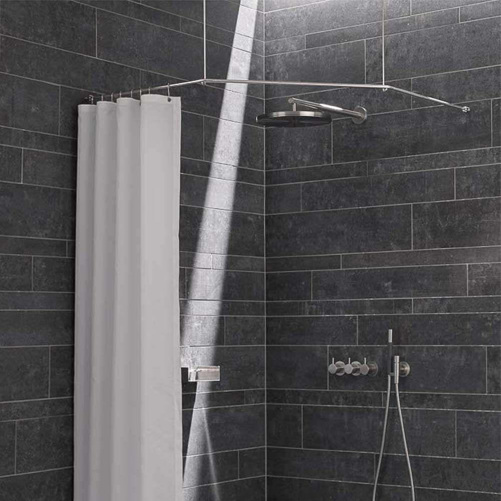 Duschstange Ds Fe Eckdusche Und Eckbadewanne Deckenhalter Edelstahl In 2020 Eckduschen Duschstangen Duschvorhangstange