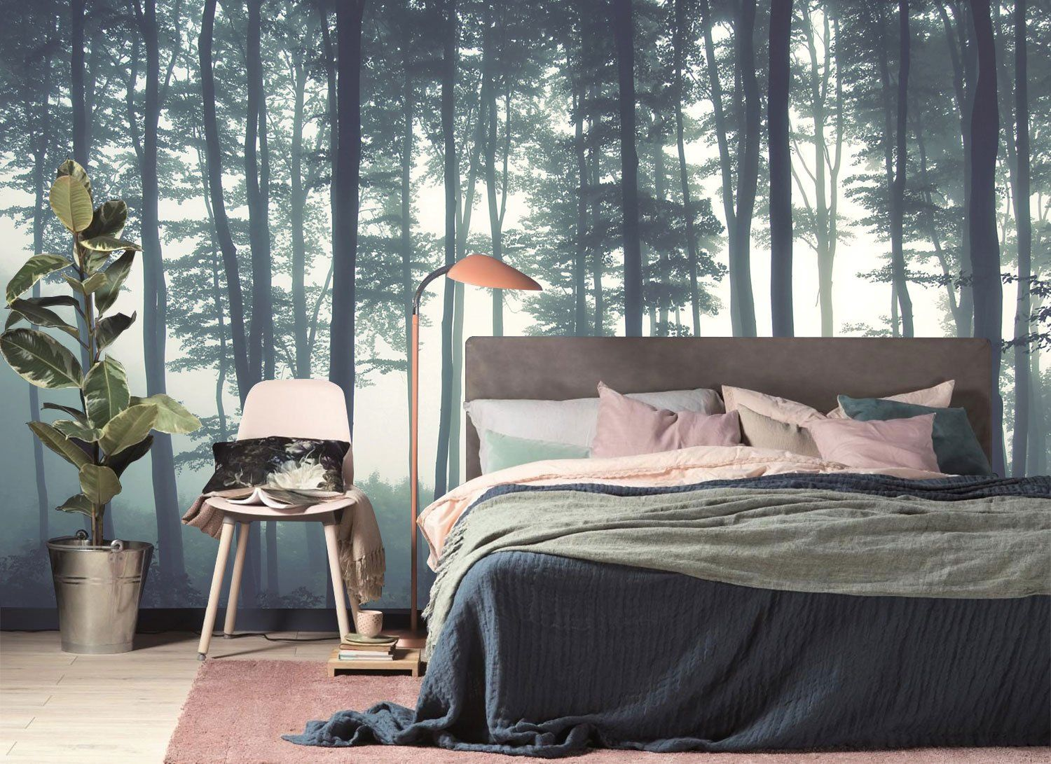 Dreamy Foggy Forest scene mural, Misty forests mural