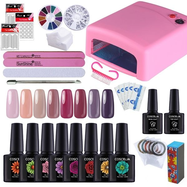36w Uv Nail Lamp 8 Colors Gel Nail Polish Uv Gel Nail Art Decoration Kits Nail Polish Uv Nail Lamp Uv Gel Nails