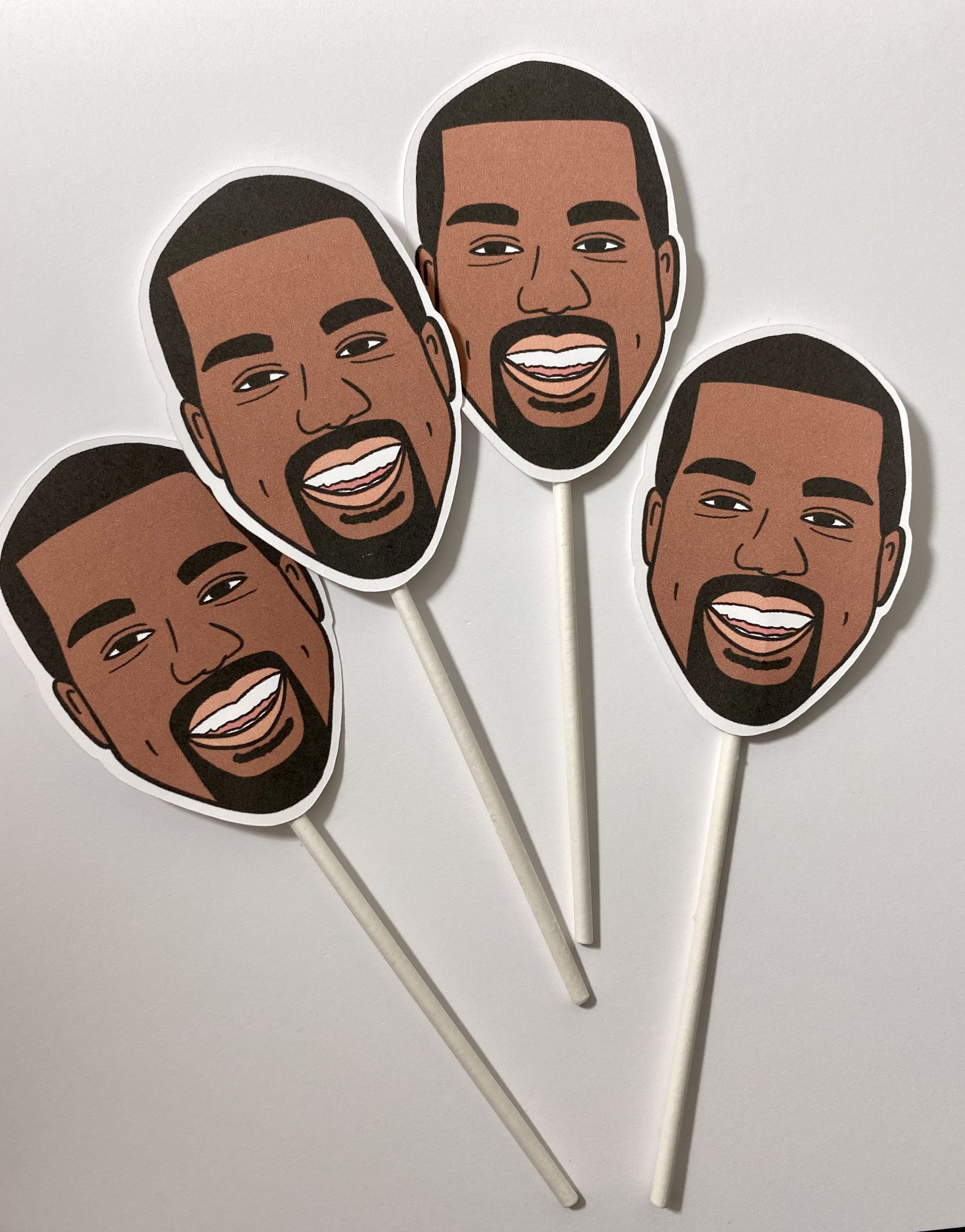 Kanye West Inspired Cupckae Toppers In 2020 Kanye West Birthday Kanye Party Themes
