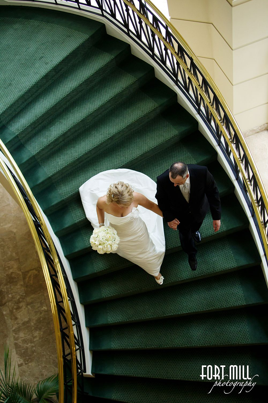 Couple Ballantyne Hotel Staircase