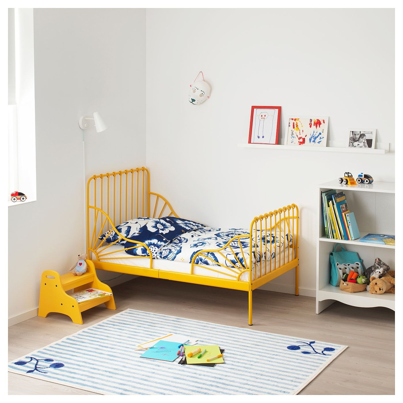 Minnen Ext Bed Frame With Slatted Bed Base Dark Yellow Ikea