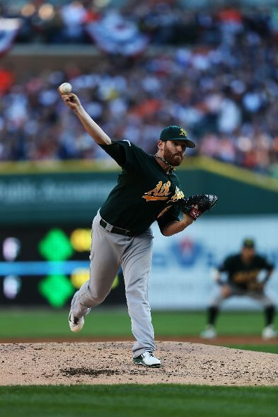 Dan Straily #67 of the Oakland Athletics pitches in the 2nd inning against the Detroit Tigers during Game 4 of the American League Division Series at Comerica Park on October 8, 2013 in Detroit, Michigan. (Photo by Rob Carr/Getty Images)