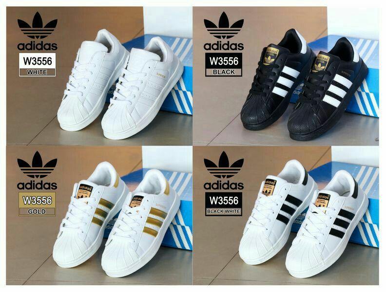 Sneaker Shoes Adidas W3556 Bahan Kulit Sintetis Fabric