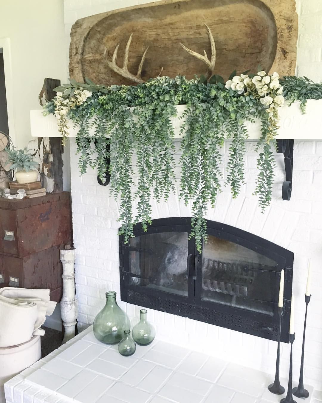 Eucalyptus styled mantel -   24 apartment fireplace decor ideas