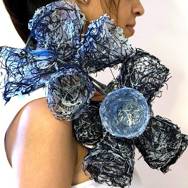 "by   Annie Huang - ""I dethreaded denim and combined it with glue to make those nest-like forms. This was a project for a charity in the UK called Barnardo's and I won 2nd place for it émoticône smile"""