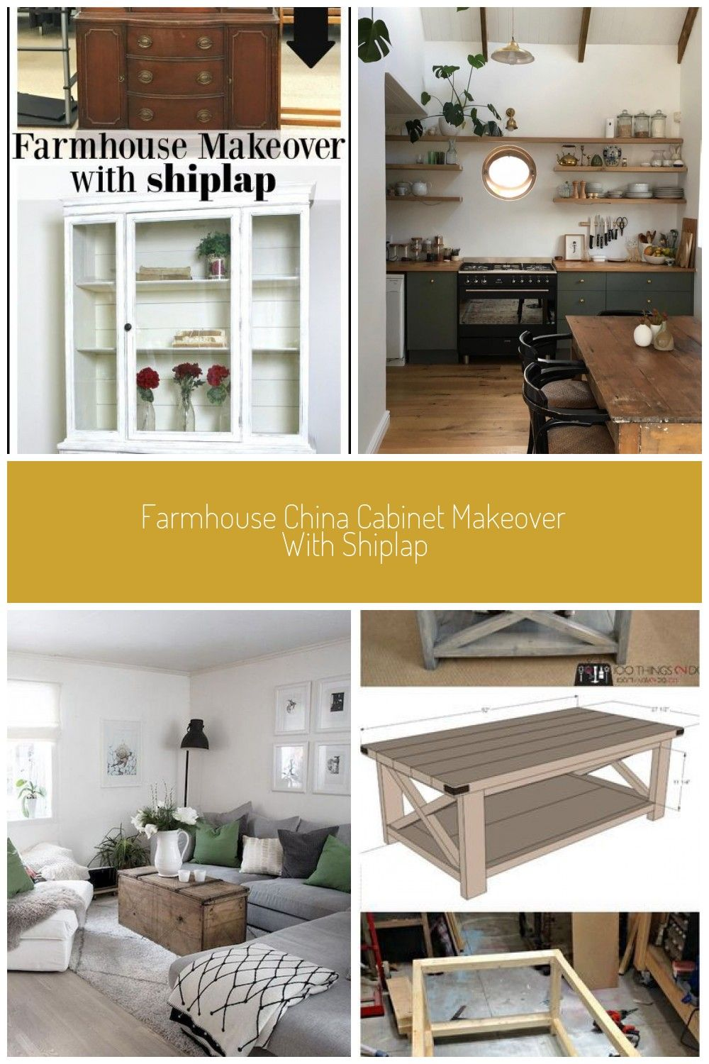 Farmhouse China Cabinet Makeover With Shiplap Hering