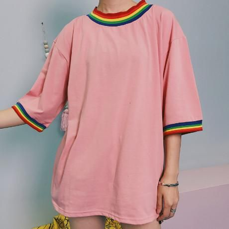 6c7a9b85c16 itGirl Shop RAINBOW COLLAR BORDERS PINK WHITE OVERSIZED T-SHIRT Aesthetic  Apparel