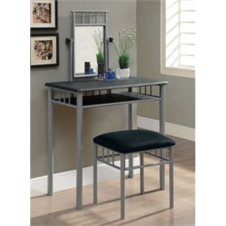 Monarch Specialties Black / Silver Metal Vanity Set Bedroom Sets - Bedroom Vanity Table
