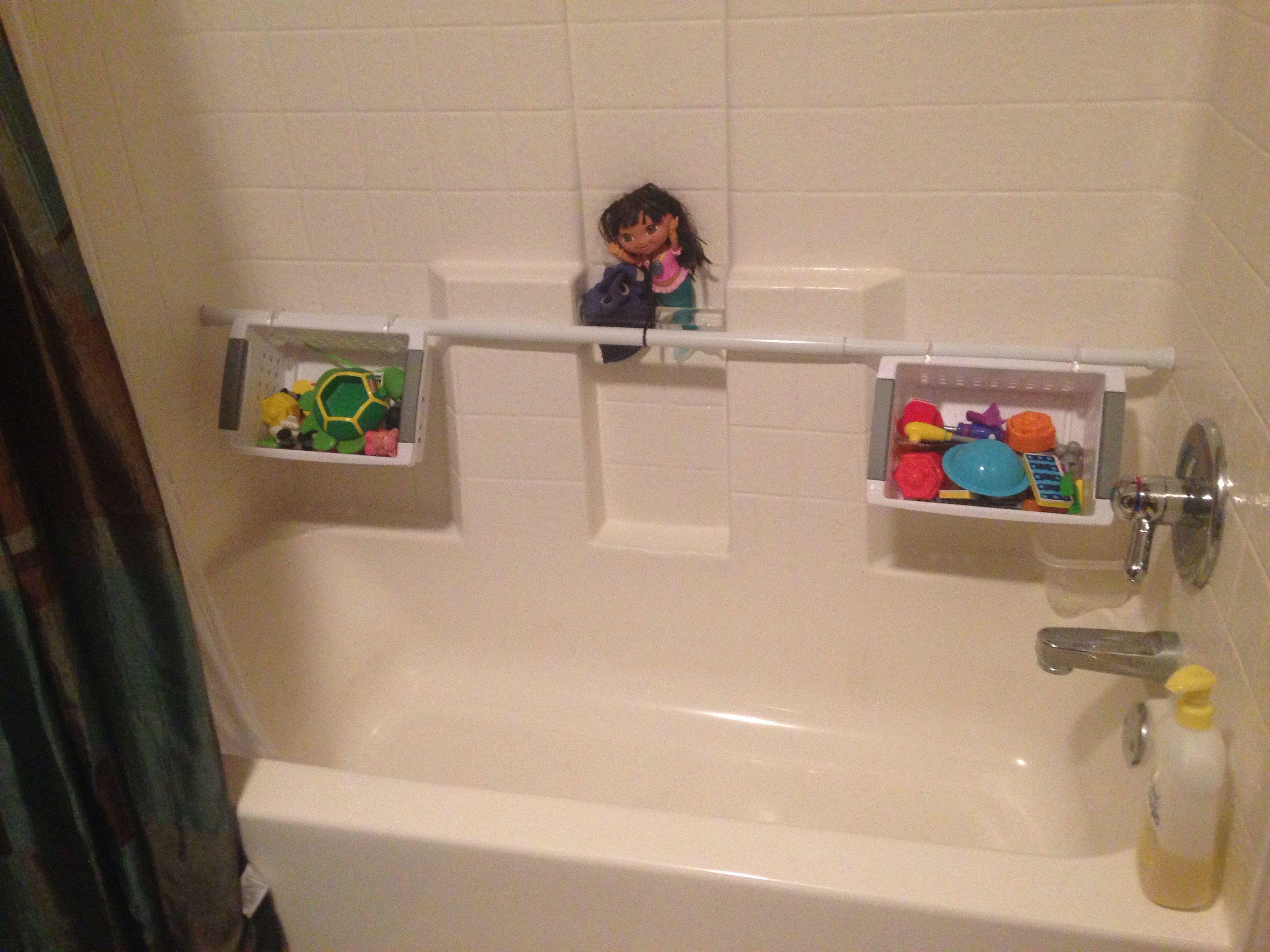 Bathtub/shower toy organization. 5.00 shower rod from Burlington