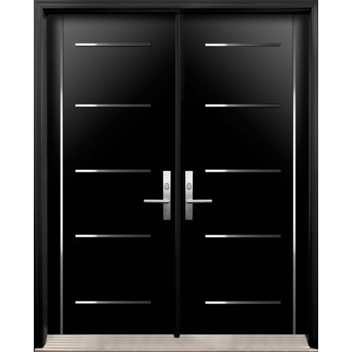 Modern Double Exterior Doors With Stainless Steel Stripes Double Doors Exterior Modern Exterior Doors Fiberglass Double Entry Doors