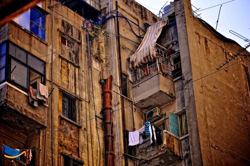 Run Down Apartment Buildings On Hamra Street