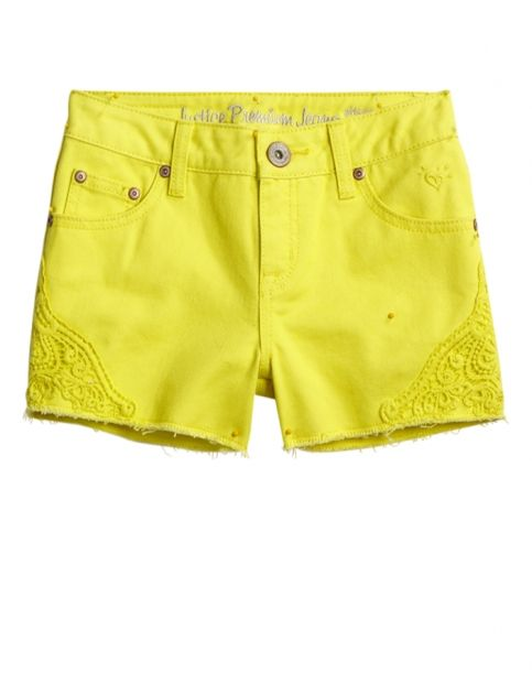 Lemon Yellow Shorts with a Crocheted Detail at Justice is a perfect spring essential for your daughter!