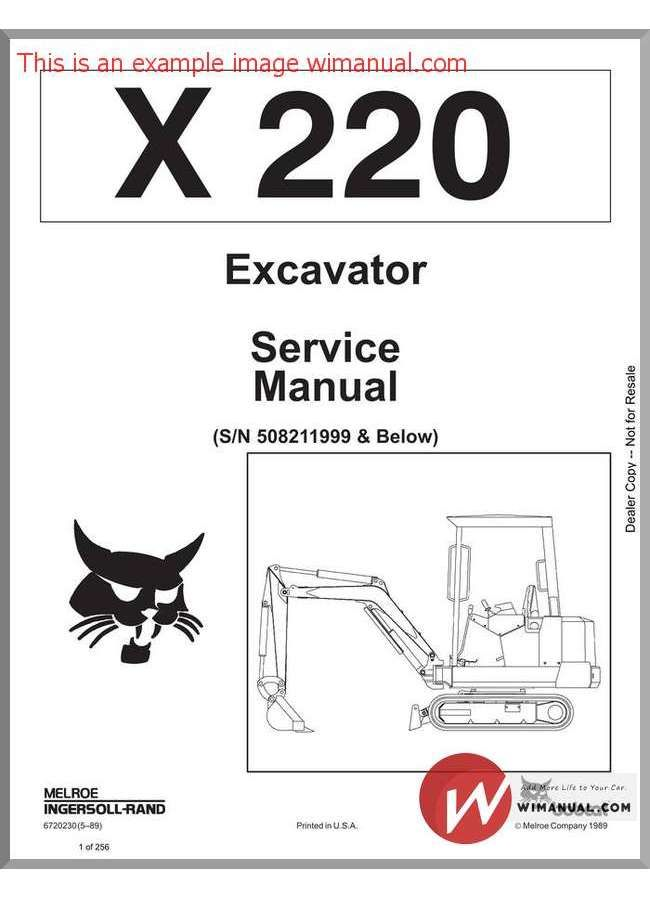 Bobcat X220 Excavator Service Manual Bobcats Repair
